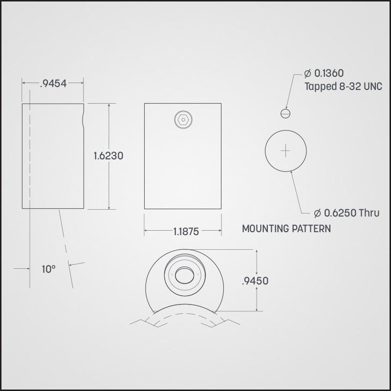 photometric dimensions for Bantam handrail lighting